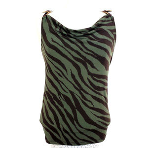 MICHAEL Michael Kors Green Black Zebra Print Tank